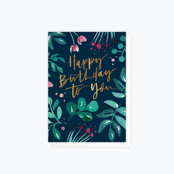 ELM Paper - Card - Birthday - Greenery Birthday Navy