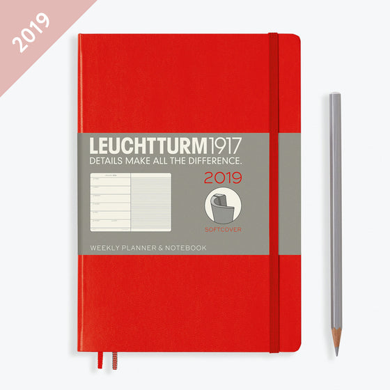 Leuchtturm1917 - 2019 Diary - A5 Weekly Notebook - Softcover - Red
