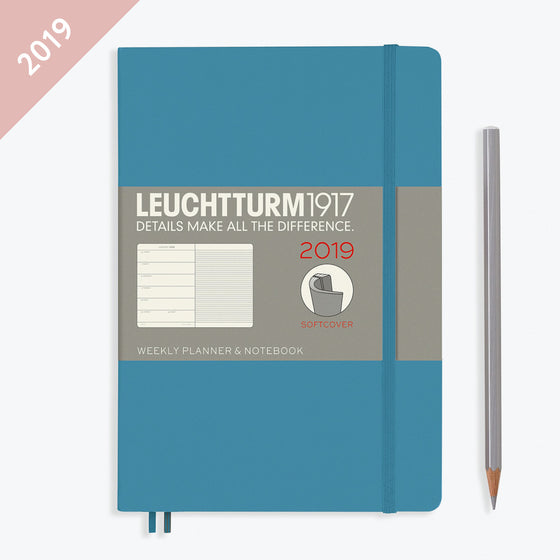 Leuchtturm1917 - 2019 Diary - A5 Weekly Notebook - Softcover - Nordic Blue