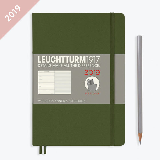Leuchtturm1917 - 2019 Diary - A5 Weekly Notebook - Softcover - Army