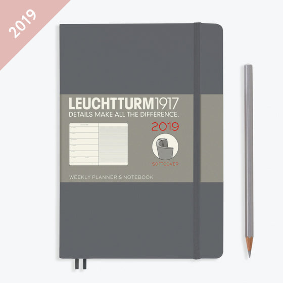 Leuchtturm1917 - 2019 Diary - A5 Weekly Notebook - Softcover - Grey