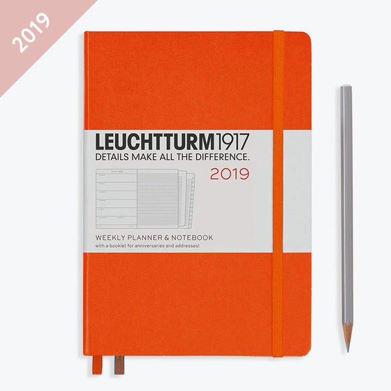 Leuchtturm1917 - 2019 Diary - A5 Weekly Notebook - Hardcover - Orange