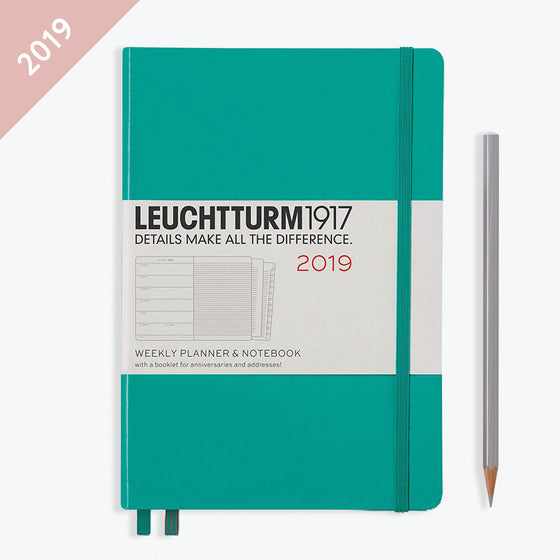 Leuchtturm1917 - 2019 Diary - A5 Weekly Notebook - Hardcover - Emerald