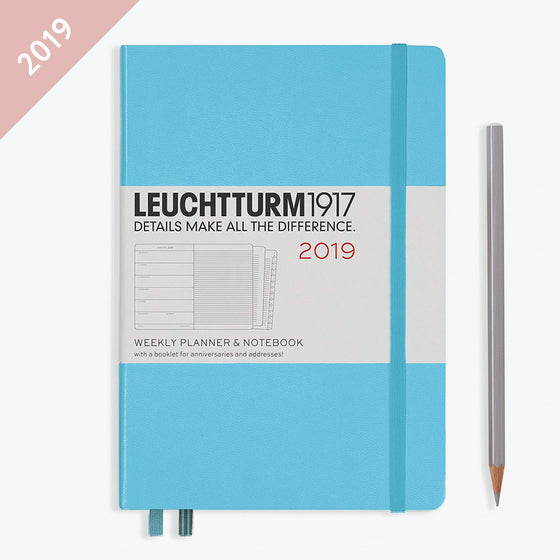 Leuchtturm1917 - 2019 Diary - A5 Weekly Notebook - Hardcover - Ice Blue