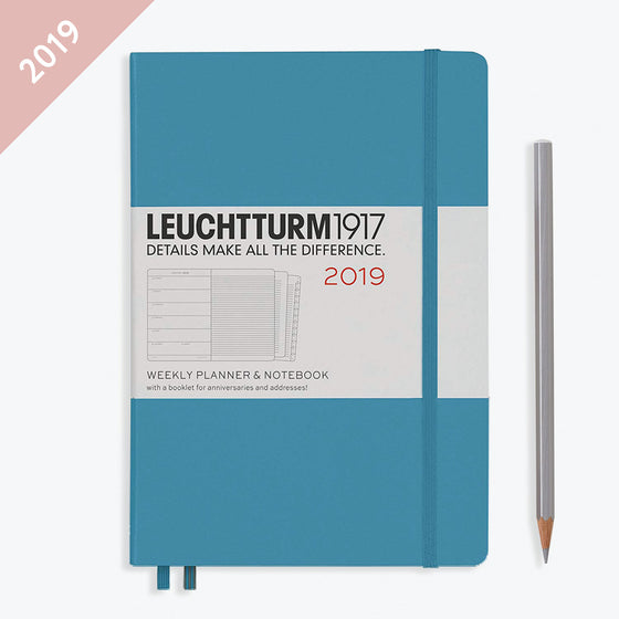 Leuchtturm1917 - 2019 Diary - A5 Weekly Notebook - Hardcover - Nordic Blue