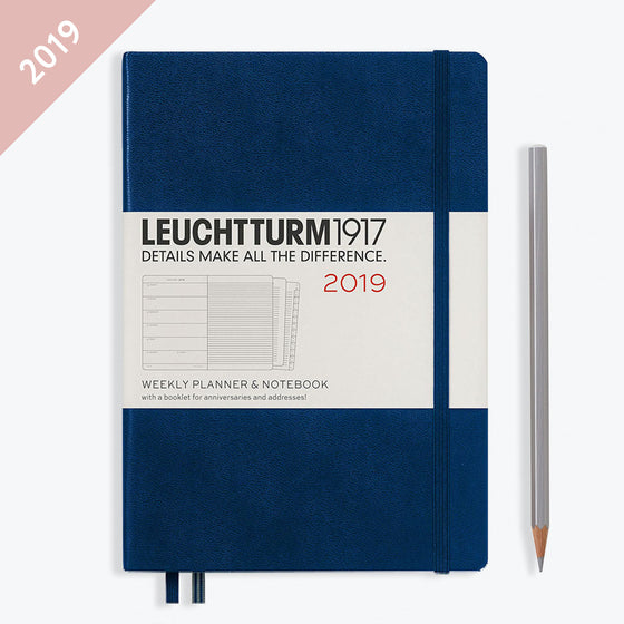 Leuchtturm1917 - 2019 Diary - A5 Weekly Notebook - Hardcover - Navy