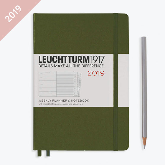 Leuchtturm1917 - 2019 Diary - A5 Weekly Notebook - Hardcover - Army