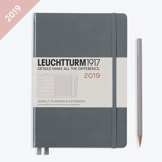 Leuchtturm1917 - 2019 Diary - A5 Weekly Notebook - Hardcover - Grey