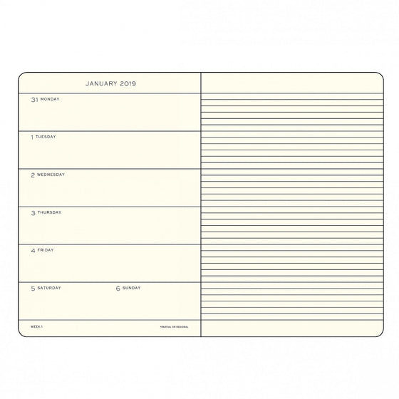 Leuchtturm1917 - 2019 Diary - A5 Weekly Notebook - Softcover - Black