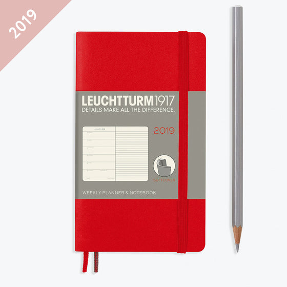 Leuchtturm1917 - 2019 Diary - A6 Weekly Notebook (SC) - Red