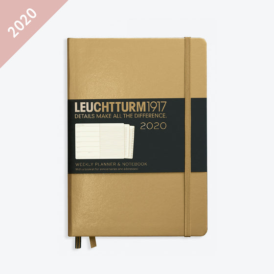 Leuchtturm1917 - 2020 Diary - Weekly Notebook - A5 - Gold (Hard)