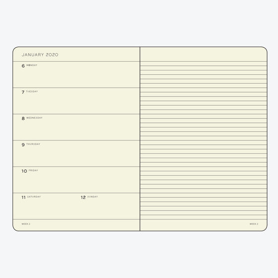 Leuchtturm1917 - 2020 Diary - Weekly Notebook - A6 - Black (Soft)