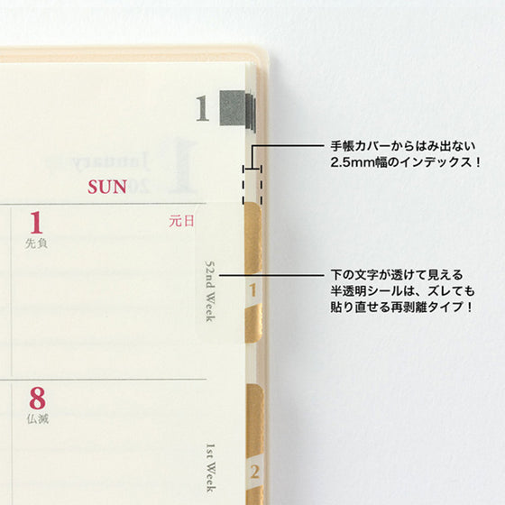 Midori - Planner Sticker - Index Labels - Numbers - Gold