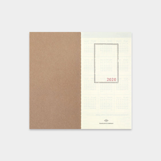 Traveler's Company - 2020 Diary - 6 Month Insert - Regular - Weekly+Memo (Jul - Dec)