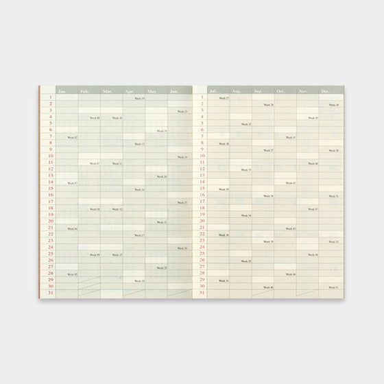 Traveler's Company - 2019 Diary Insert - Passport - Monthly