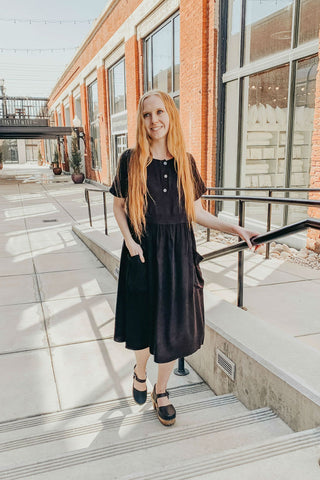 black modest summer dress