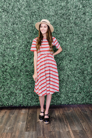 Rust colored striped dress