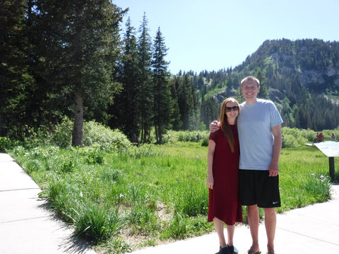 Loose Red Dress Front at Silver Lake in Utah