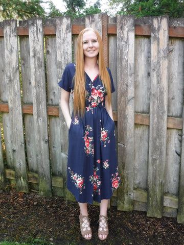 Navy floral nursing friendly dress with pockets