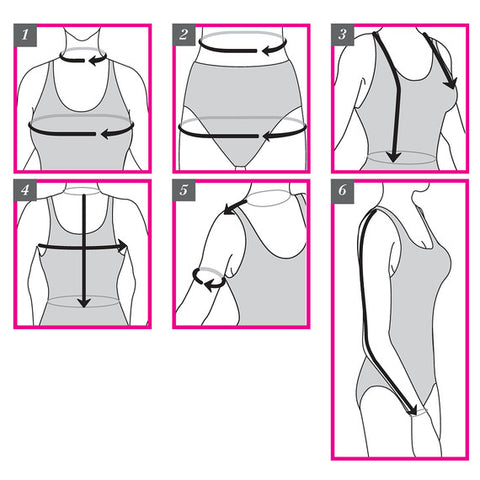 Graphic that shows women how to get measurements for their bust, waist, neck, and shoulders
