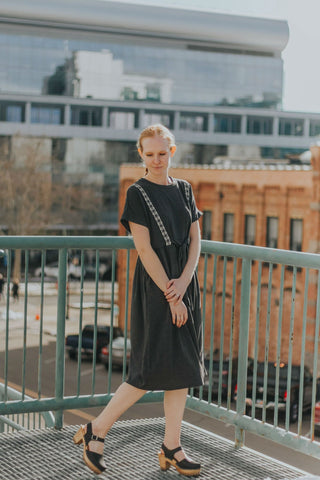 Charcoal embroidered dress