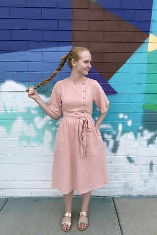 modest peach dress