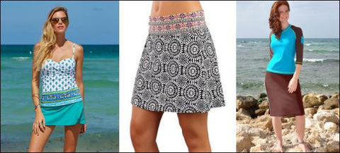three swim skirt examples