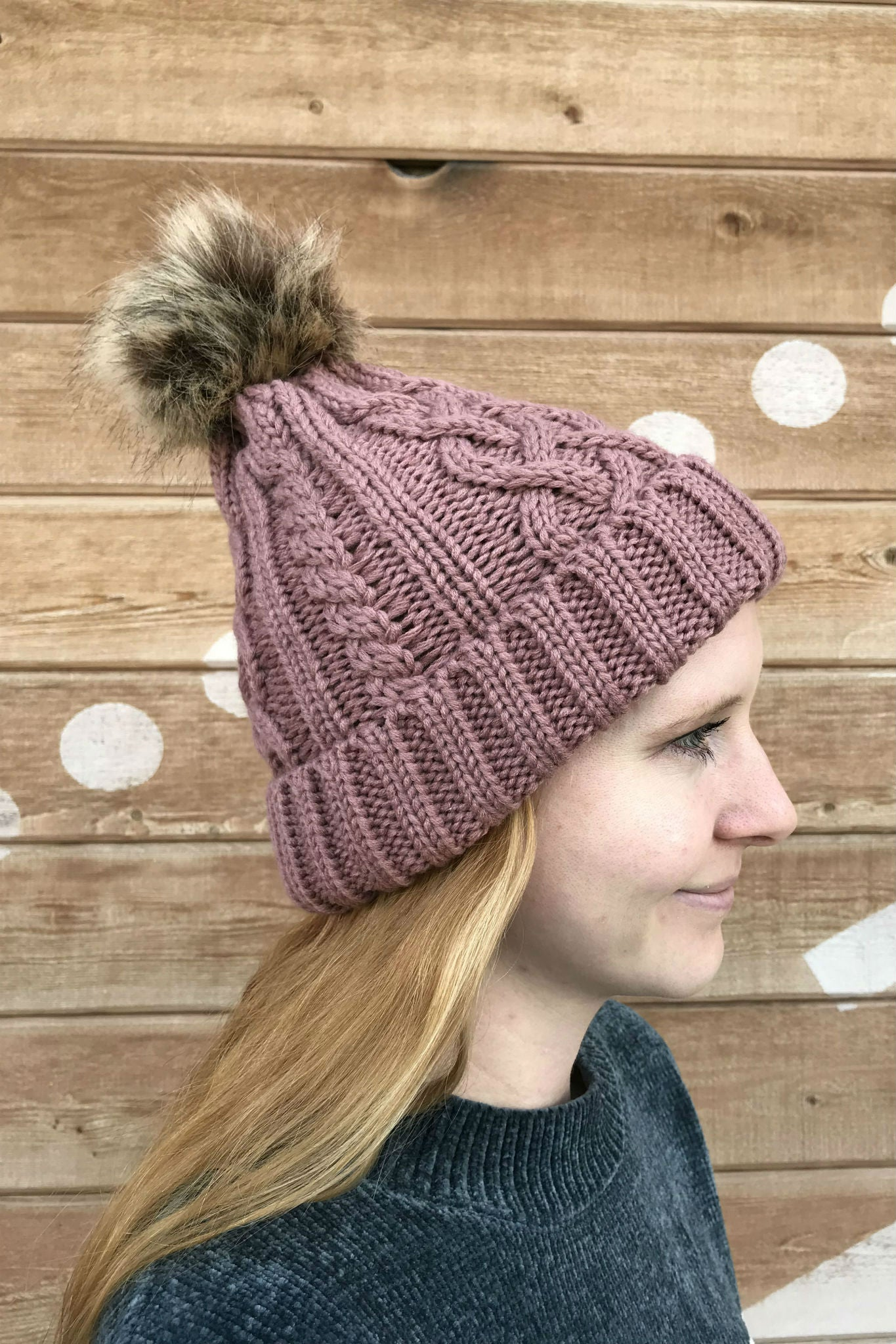 Ozark Cable Knit Beanie in Mauve