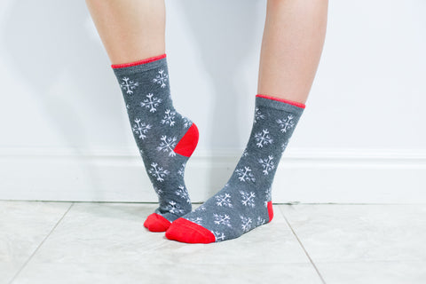 Charcoal snowflake socks
