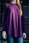 Long Sleeve purple shirt close up