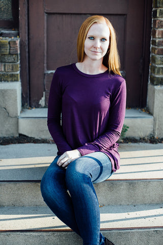 Long sleeve purple shirt front
