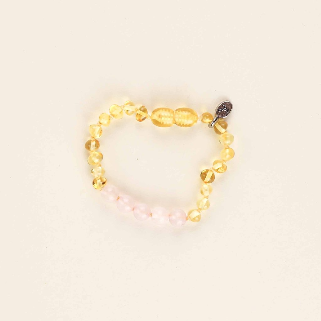 WILDFLOWER Lemon Anklet // Raw Lemon Amber + Rose Quartz