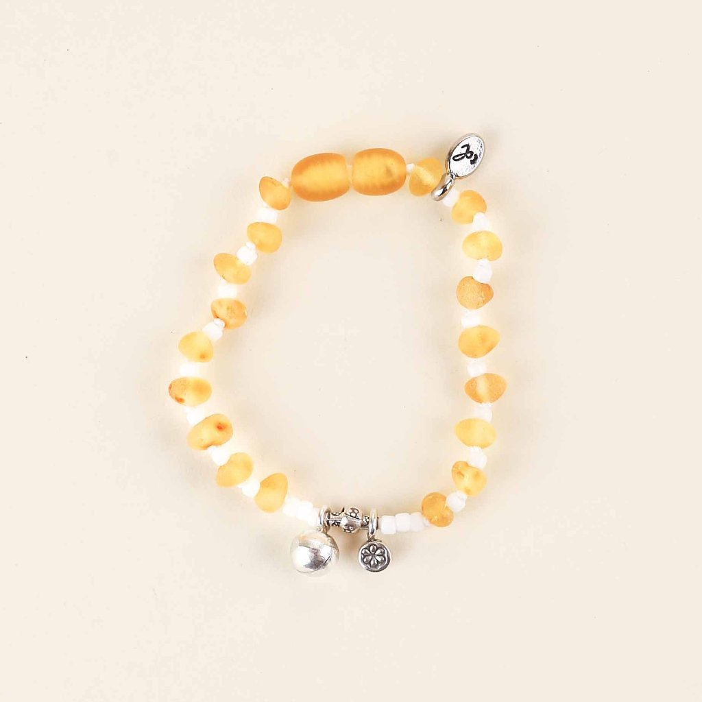 PURE Heart Anklet + Mama Bracelet // Raw Lemon Amber + Karen Hill Tribe Silver Bell and Flower Charm