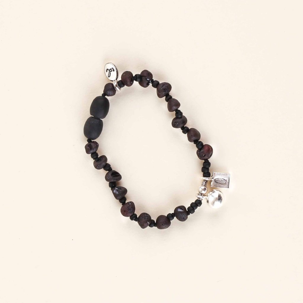 PURE Heart Anklet + Mama Bracelet // Raw Dark Cherry Amber + Karen Hill Tribe Silver Bell and Fish Charm