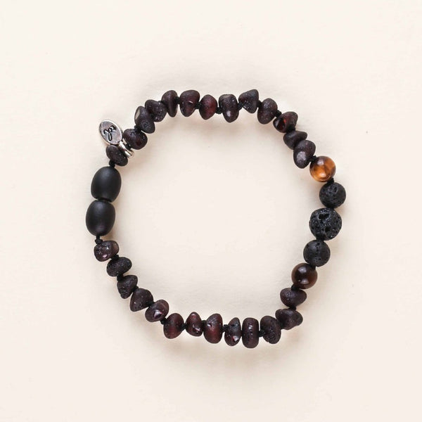 TINY Healer Tiger Eye OIL DIFFUSER Anklet + Bracelet // Raw Dark Cherry Amber + Lava Rock + Tiger Eye