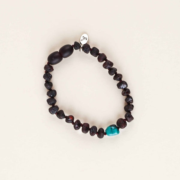 PEACE Babe Anklet // Raw Dark Cherry Amber + Turquoise