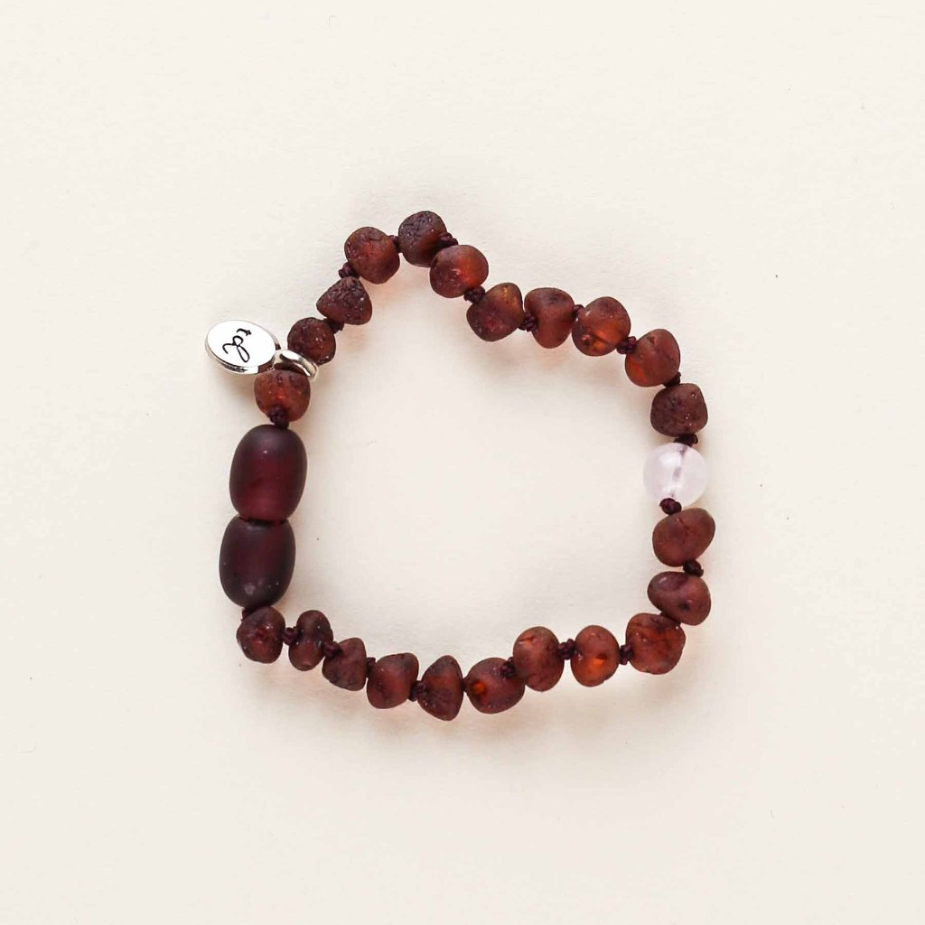 WILDFLOWER Cherry Anklet // Raw Dark Cherry Amber + Rose Quartz