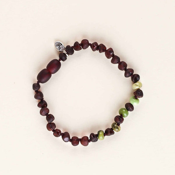 PREORDER NOW (for August delivery) WILD Soul Anklet/Bracelet // Raw Dark Cherry Amber + Chrysoprase