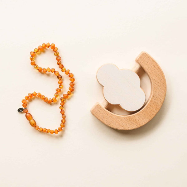 TEETHING GIFT SET // Raw Starseed Amber Teething Necklace & Wooden Teething Rattle