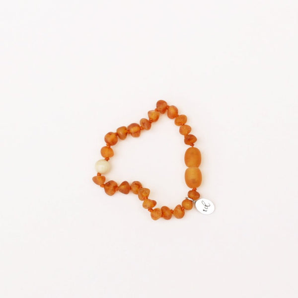 SOL // Raw Cognac Amber + Sunstone  Anklet