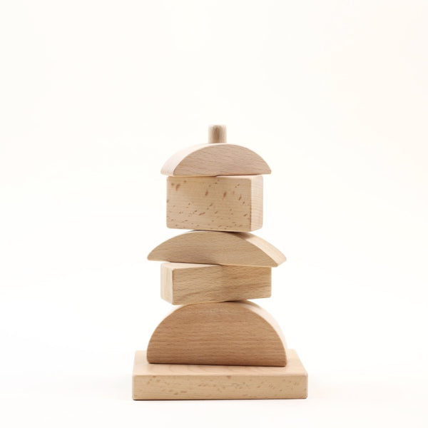 Geometric wooden stacking toy - Natural wood