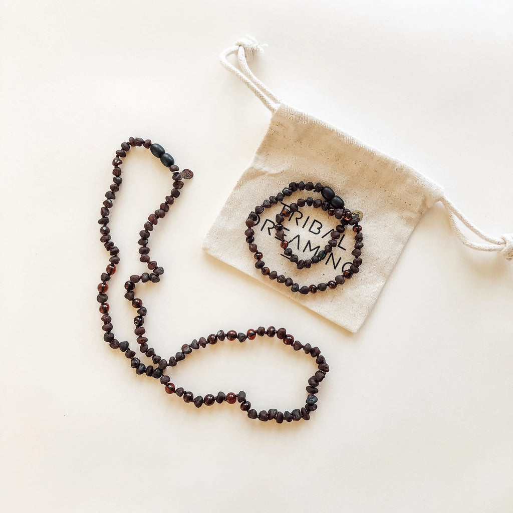Mama + Babe Gift Bundle // Starseed Dark Cherry Amber Necklace for Mama + Starseed Dark Cherry Amber Teething Necklace for Babe RRP $98