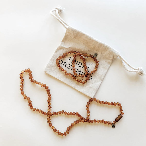 Mama + Babe Gift Bundle // Starseed Cognac Amber Necklace for Mama + Starseed Cognac Amber Teething Necklace for Babe RRP $98