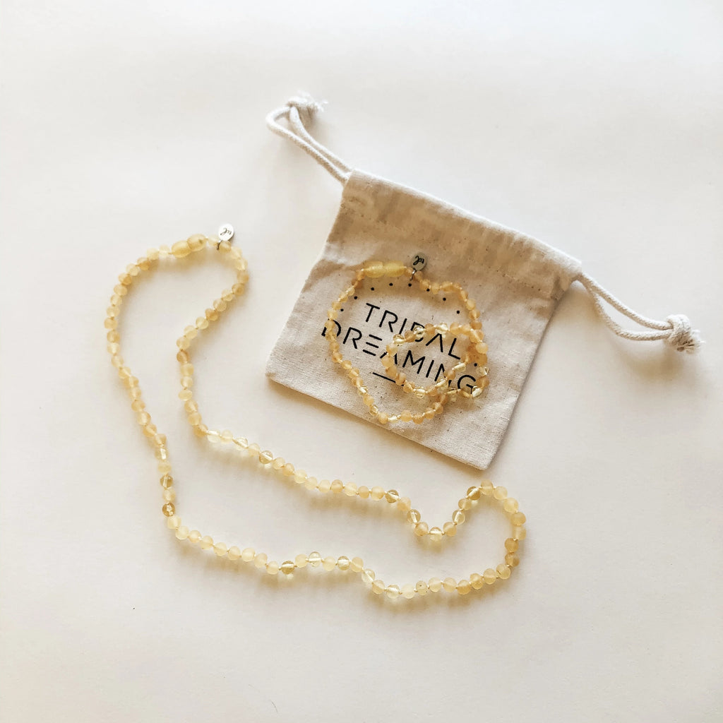 Mama + Babe Gift Bundle // Starseed Lemon Amber Necklace for Mama + Starseed Lemon Amber Teething Necklace for Babe RRP $98