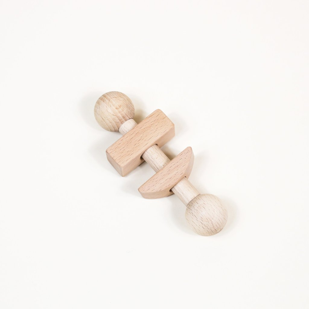 Geometric baby wooden rattle