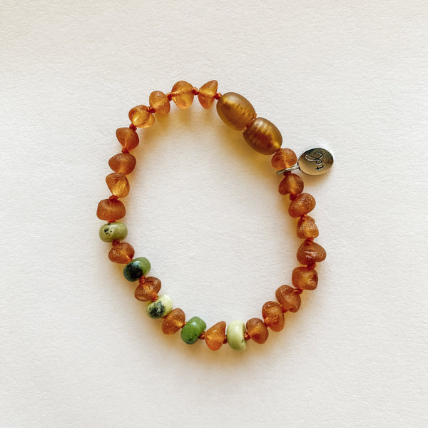 WILD  Soul ANKLET // Raw Cognac Amber + Chrysoprase