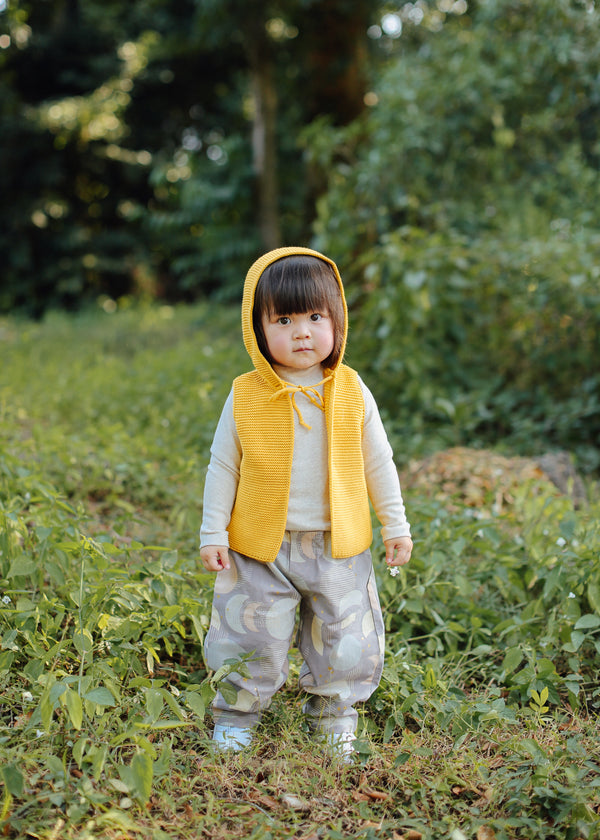 Knitted Vest with Hood (Mustard)