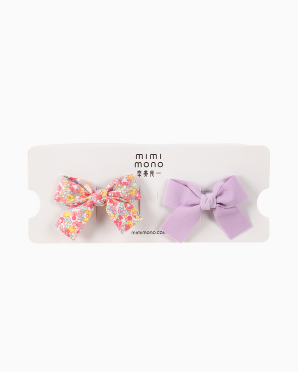 Ribbon Hair Clips (Lilac)