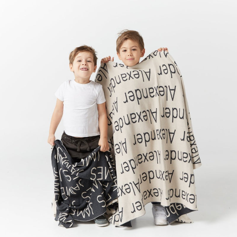 Personalized Blanket (Charcoal Background)