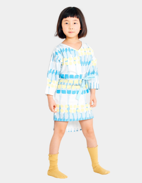 Twinning Abstract Printed Dress - Blue (kid)